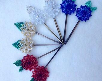 Beaded Flower Bobby Pins Set of 2