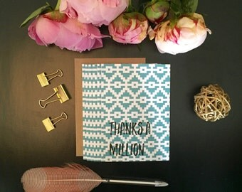 Teal Tribal Print Thanks A Million Thank You Card