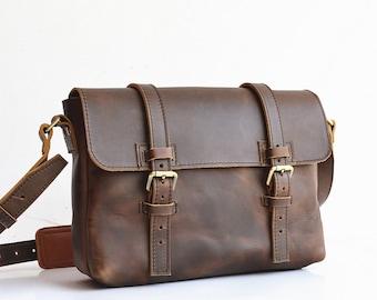 Old Fashion Mens Leather Satchel Men Mens Leather Messenger Bag Men Leather iPad Bag Handmade Leather Bag For Postal Leather Bag For Women