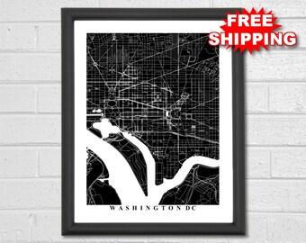 Washington DC Map Art - Map Print - Black and White Print - DC - Hometown - Office Decor Personalized - Custom - Travel Gift - Housewarming