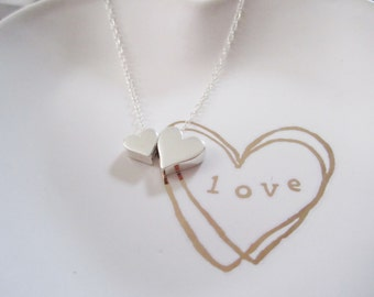 Heart charm necklace,Sterling Silver,Gift for Mom,Mommy and me heart necklace,Mothers day gift