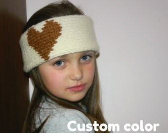 Hand Knitted heart headband cream Valentines day gift Heart ear warmer Headwarmer Head wrap Women headband