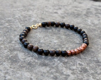 Ebony Wood Bead Bracelet, Pearl & Ebony Bracelet, Boho Beaded Bracelet, Colour Block Bracelet, Layering Bracelet, Beaded Wood Bracelet