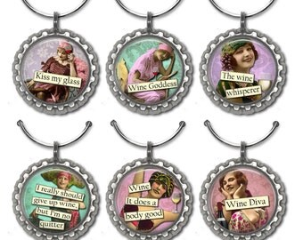 Funny Wine Charms, Hostess Gift, Wine Accessories, Wine Lover Gift, Co-Worker Gifts