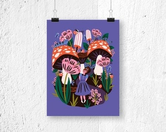 Poster Alice in Wonderland - print - fairytale poster - poster fairytale - poster kids room - kids poster - cute poster for girls - pink