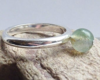 Sterling SIlver and Green Quartz Bead Riveted Ring