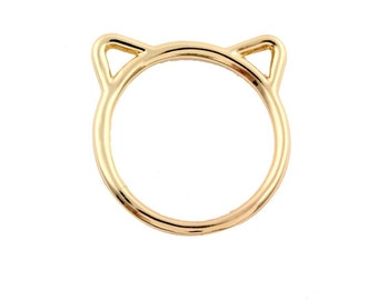 Cat ears ring, gold or silver, size 6