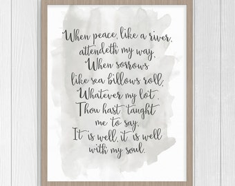 It Is Well With My Soul Lyrics | Christian Watercolor Instant Download Printable