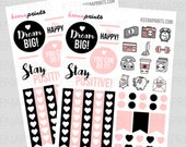 Z003 | 47 BLUSHPINK Collection, dots, quotes, hearts Stickers Perfect for Erin Condren Life Planner, Filofax, Plum Paper, scrapbooking