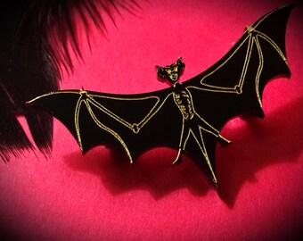 Bat Brooch, Laser Cut Jewelry, Acrylic Brooch, Plastic Jewelry, Gold, Gothic Brooch, Gothic Jewelry, Bat Jewelry, Black Brooch