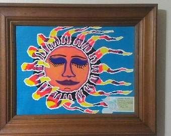 "Framed Hand Painted ""The Sleeping Sun"" Wall Art Painting"