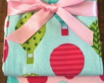 Burp Cloths-Set of 3. New Baby Gift. Baby Girl. Aqua,Pinks,Green. Air Balloons, Clouds, Chevrons.Cotton Flannel on Premium 6-Ply Diapers.