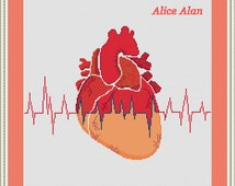 Cross Stitch Pattern Anatomical Heart with cardiogram Counted Cross Stitch Pattern /Instant Download Epattern PDF File