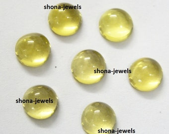 5-P Wholesale Lot Of Lemon Quartz 14X14 MM Round Shape Loose Gemstone Cabochon with free shipping