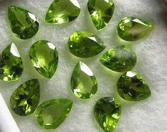 25 pic. Lot of Natural Green Peridot  Pear cut Faceted loose gemstone with free shipping