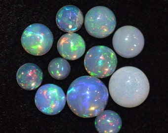 4-8 mm Round Natural Play Welo Fire ETHIOPIAN opal cabochon AAA quality beautiful rainbow color 7.35 cts. 12 pic. of lots for jewelry