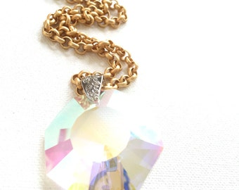 Gold Chain Necklace with Large Iridescent Crystal