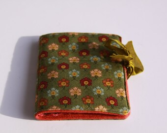 Large Primative Green Floral Needlebook with hand dyed wool and silk Ribbon Pin Book Holder
