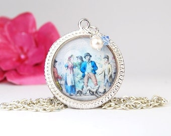 Victorian Pendant Necklace | Historial Painting Pendant Necklace