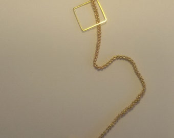 Square gilded Frame Pendant with narrow payota kneting stich beads