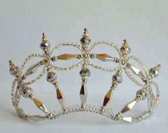 Silver rhinestone handmade crystal tiara, bridal tiara, dancer tiara, prom queen tiara, wedding tiara, hens tiara