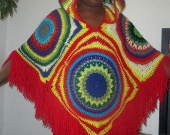Retro Vintage Hooded Poncho PATTERN ONLY-REV 1