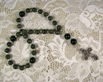 Anglican Prayer Beads-Rosary-Green Russian Serpentine