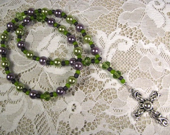 Anglican Prayer Beads-Rosary-Green and Purple