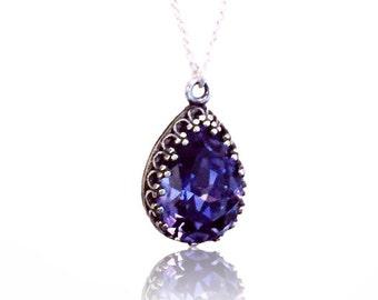 Tanzanite Drop Pendant Teardrop Necklace Purple Pendant Any Ocassion Gift Birthday Swarovski Crystals Jewelry Original Trendy Pendant Classy