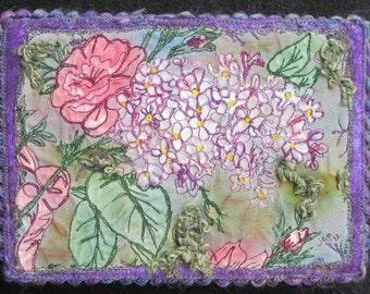 Purple Lilac Quilt, Fabric Art Quilt,, Miniature Quilt, Wall Art Quilt, Shelf Art, Home Decor, Gifts for Her, 5 x 7