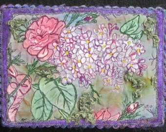 On Sale, Purple Lilac Quilt, Fabric Art Quilt,, Miniature Quilt, Wall Art Quilt, Shelf Art, Home Decor, Gifts for Her, 5 x 7