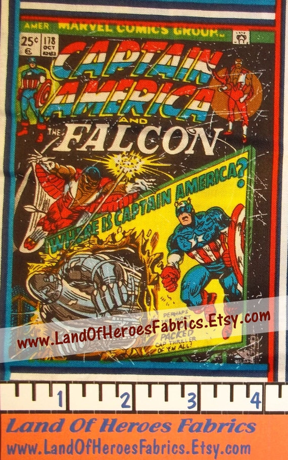 Comic Book Cover Material : Captain america comic book covers on an oop cotton fabric