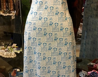 Late 1960', over 1970' cute pattern baggy sleeves maxi dress. Size S.