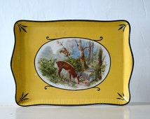 French Yellow Enamel Tray. Vintage Serving Tray With Painted Enamel Deer