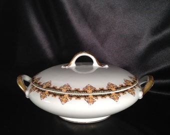 Vintage Limoges covered dish,Antique Limoges covered dish,Paroutaud Brothers La Seynie France Limoges Covered dish,Antique Limoges France
