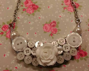 Vintage Bridal Button & Flower Necklace