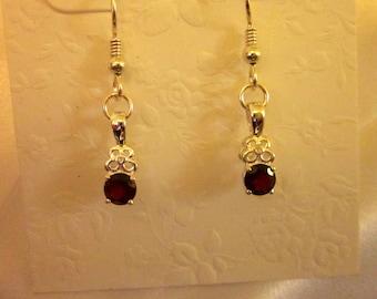 Garnet & Sterling Silver Earrings - #141