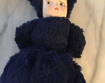 Vintage Childs Handwarmer / Muff With Doll Face