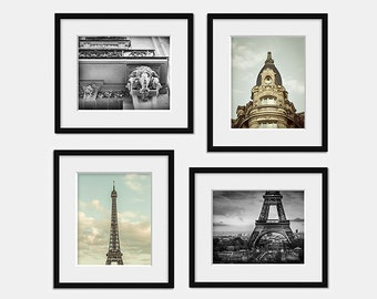 Paris photography, Eiffel tower print, French home decor, Neutral wall art, Set of 4 Paris prints, Black and white Paris, Architecture paris