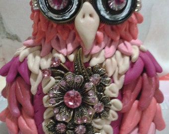 Coquette pink and blue OWL