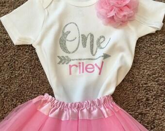 1st Birthday Outfit - First Birthday Outfit - One Onesie - Birthday Tutu - Baby Headband - Glitter - Girls Birthday