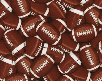 Sports - Packed Footballs Fabric - Brown - Priced by the half yard (cut continuously)