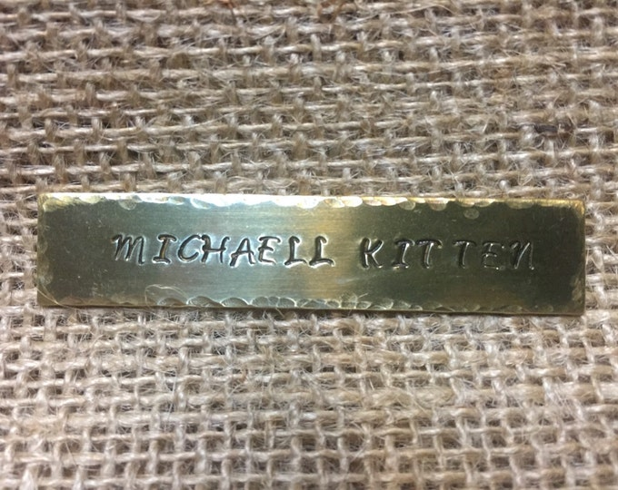 Custom Hand Stamped Brass Saddle Plate