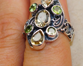 Citrine and Peridot & 925 Sterling Silver Ring size 8 by Silver Trend