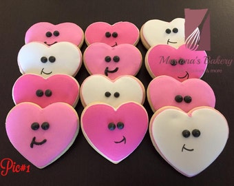 Valentine's Day, heart, decorated sugar cookie favor (1 dozen) choose your favorite