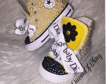 Toddler converse with bling, 1st birthday converse,swarvoski converse , baby converse SIZE 4 ready to ship!