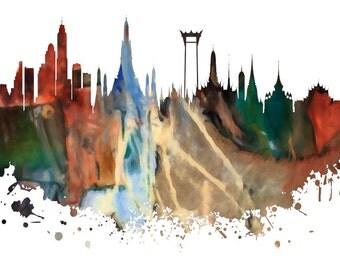 Bangkok Skyline, Bangkok, Thailand Skyline,  Urban Silhouette, Cityscape, Art Print, Poster, Modern Art, Painting