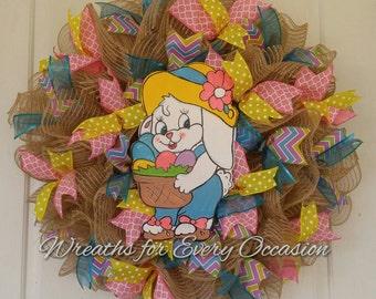 Burlap Ruffle Easter Bunny Wreath