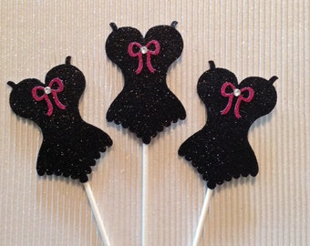 Corset Cupcake Toppers 12 each bridal bachelorette party wedding black hot pink cake decoration Handmade New