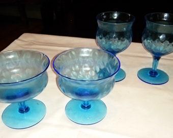 Set of 4 Vintage  Blue Glasses